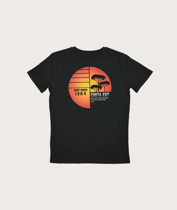 """Retro T-Shirt Uomo Grigia """"Surf Rider 1984"""" Costa Est"""