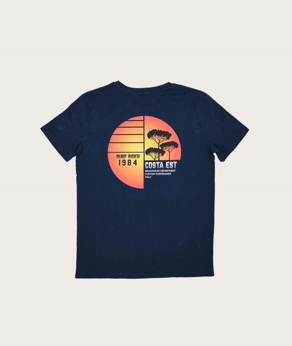 """Retro T-Shirt Blu Navy """"Surf Rider 1984"""" Costa Est"""