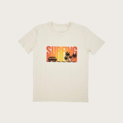 """Fronte T-Shirt Vintage Stampa """"Surfing"""" Costa Est"""