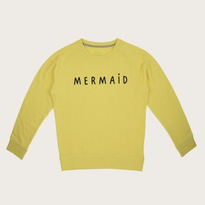 """Fronte Felpa Gialla Donna Girocollo """"Mermaid"""" Costa Est"""